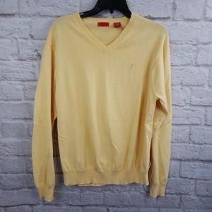 Izod Men's Yellow V-neck 100% cotton sweater